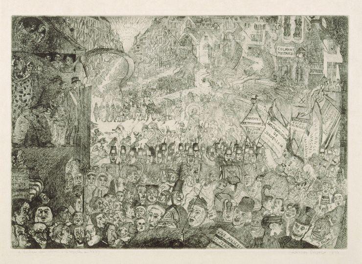 James Ensor, De intrede van Christus in Brussel, koperets, 1898