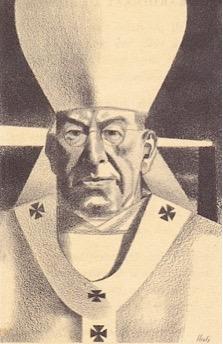 Kardinaal De Jong, getekend door Charles Eyck, 1955